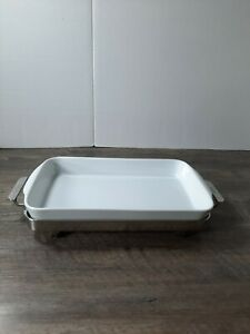 ALL-CLAD 14 RECTANGULAR PORCELAIN BAKER and ALL-CLAD STAINLESS STEEL STAND