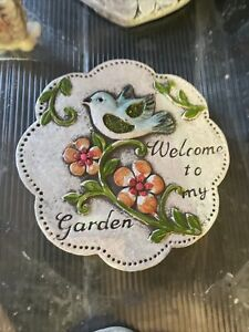 Bird Flower Plaque Latex Rubber Mould Mold Fairy Pixie Garden Sign Welcome