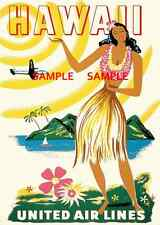 """United Airlines ( Hawaii ) 11"""" x 17"""" Collector's Travel Poster Print - B2G1F"""