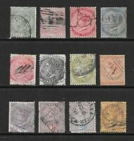 1860 Queen Victoria Early collection of 12 stamps Used  JAMAICA