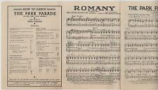 INTERESTING 1939 SHEET MUSIC & DANCE INSTRUCTIONS for THE PARK PARADE & ROMANY