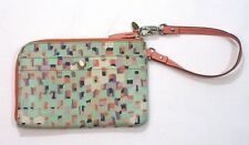 FOSSIL Coated Canvas Pink Leather Trim Wallet Clutch Wristlet Zipper EUC