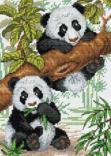 14ct Cross Stitch Kit - MP Studia - Two Cute Pandas - Counted 22 x 16 cm