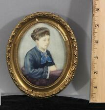 Antique 19thC Miniature Watercolor Portrait Painting, Woman in Blue