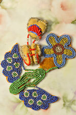 Antique Native American Indian Beaded moccasin Shoe Pin & Flower Floral Piece