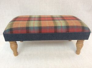 Footstool upholstered in a 100% Wool check orchard Fruits