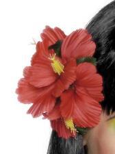 Donna HAWAIANO Fermaglio per capelli fiore rosso Clip Nuovo Da Smiffys