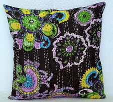 """Indian Cotton Cushion Cover Floral Print Pillow Case Brown Kantha Work Throw 16"""""""