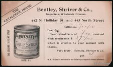 BALTIMORE MD Bentley Shriver Co Royalty Syrup Antique
