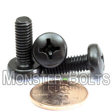 M6 x 16mm - Qty 10 - Phillips Pan Head Machine Screws - DIN 7985 A - Black Steel