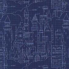 Michael Miller Magic by Sarah Jane DC7196 Navy Castle Plans BTY Cotton Fabric
