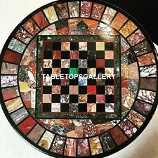 36'' Black Marble Chess Top Coffee Table Multi Stone Marquetry Inlay Decor H3984