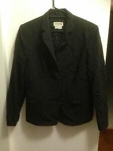 COUNTRY ROAD NWOT Chocolate with Gold Pinstripe Jacket Sz14 100% Wool