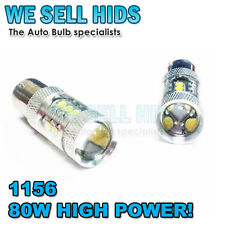 2X P21W 1156 80W 16 CREE LEDS PROJECTOR WHITE CANBUS BULB REVERSE DRL HIGH POWER