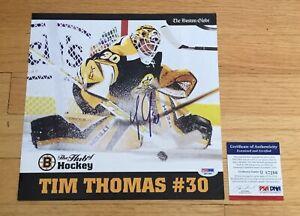 Tim Thomas Boston Bruins Autograph Signed Globe 10x10 Photo Insert PSA/DNA COA