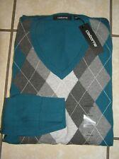 NWT $50 Mens  Claiborne 100% Cotton V-Neck Argyll Sweater Blue Mystery Sz XL