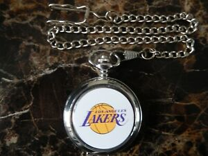 LOS ANGELES LAKERS BASKETBALL NBA CHROME POCKET WATCH WITH CHAIN (NEW) (2)