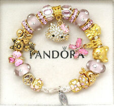 Authentic Pandora Bracelet Hello Kitty Silver Pink Gold Pugster European Charms