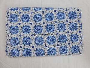 Indian Reversible Queen Kantha Quilt Bedspread Floral Print Decor Blanket Throw