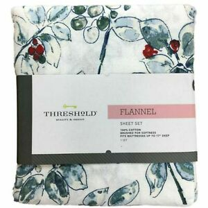 Threshold Flannel Sheet Set Blue & Green Watercolor Holly Berry Twin Bed Sheets