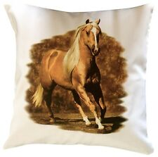 Horse Equestrian Golden Themed Cotton Cushion Cover - Perfect Gift