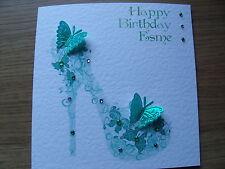 Luxury Handmade Personalised Birthday Card - Green Butterfly Shoe