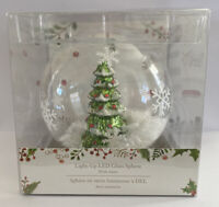 Pier 1 Imports Christmas Tree Light Up Snow Globe White Winter Holiday Xmas LED
