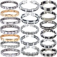 Mens Black Silver Stainless Steel Rubber Biker Bracelet Bangle Chain Jewelry Lot