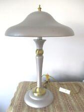 Vintage Silver Color Tole & Brass Retro Mid Century Atomic  Desk Table Lamp