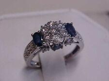 ESTATE 1.39ctw NATURAL BLUE SAPPHIRE & DIAMOND RING 10K WHITE GOLD sz7.25 GIFT