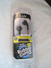 iLUV Bubble Gum 3 Black Noise Isolation Earbuds with Mic and Remote US Seller