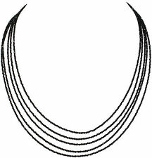 Beautiful 5 Strand Natural Black Spinel Gemstone Round Faceted Beads Necklace