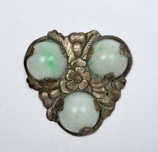 1900's Chinese Jade Jadeite Carved Court Necklace 26mm Bead Pendant Plaque Mk