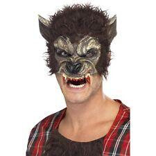 Men's Mezza Faccia LUPO MANNARO Maschera Con Zanne Costume Spaventoso Halloween HORROR di Wolf