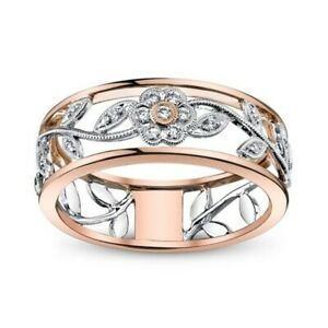 Flower 925 Women Silver Ring Wedding Ring Engagement Band Jewelry Girl Lady Gift