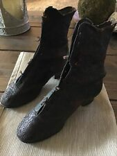 Old Vtg 1900s Girl's Edwardian / Victorian Solid Leather Shoes Boots