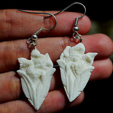 Turtle Carved in Buffalo Bone Carving Earring 925 Sterling Silver Bail 60065099