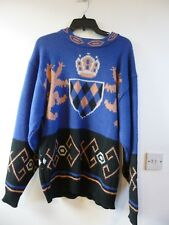Unbranded vintage chunky/heavy acrylic/wool/alpaca coat of arms jumper size L
