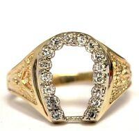 14k yellow gold .24ct VS G mens diamond Horseshoe ring 7.3g gents horse shoe