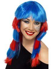 Années 80 Rebel Perruque Bleu & Rouge Perruque Années 1980 Punk Perruque Perruque Femmes robe fantaisie
