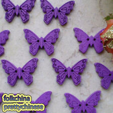 100 X Purple Butterfly 22mm Wood Buttons Sewing Scrapbooking Cardmaking