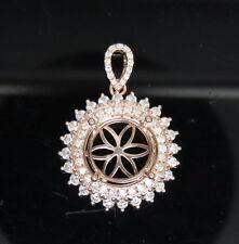 Round Cut 10mm Solid 14Kt Rose Gold Natural Full Cut Diamond Semi Mount Pendant