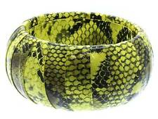 Yellow Wrap Faux Leather Animal Print Snake Skin Bangle Bracelet