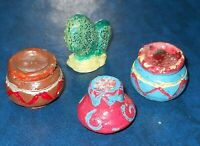 Lot of 4 Vintage Mexican Doll House Size Pottery Lot of 3 Pots & 1 Cactus