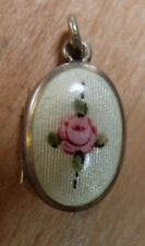 Vintage Guilloche Rose Enamel Small Silver Child's Locket or Charm Pendant