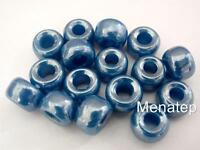 12 5 x 9mm Czech Glass Roller/Crow Beads: Dark Blue - Luster