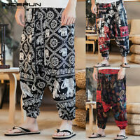 Mens Chinese Floral Harem Linen Pants Summer Hippy Causal Loose Holiday Trousers