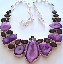 GORGEOUS 925 SILVER HANDCRAFTED MULTI-STONES NECKLACE: DRUZY AGATE/AMETHYST