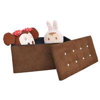 Large Ottoman Storage Box - Brown Suede Diamante - Seat Bench Footstool Bedding