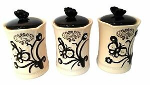 SET OF 3 CANISTER SET TEA COFFEE SUGAR BLACK BUTTERFLY IMPERECTIONS AS IS HW-18